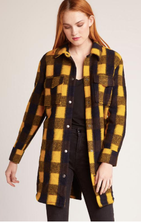 Plaid Company Coat- Royal Yellow