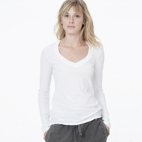 Long Sleeve Relaxed Casual V-Neck Tee
