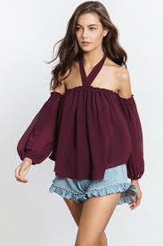 Livey: Chiffon Off Shoulder Sleeve Halter Top