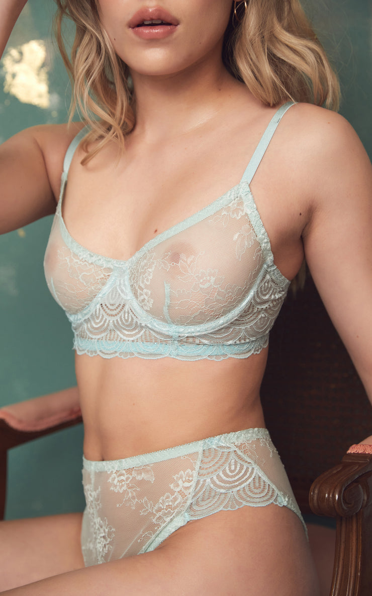 MINT KISS BALCONY BRA | LINGERIE