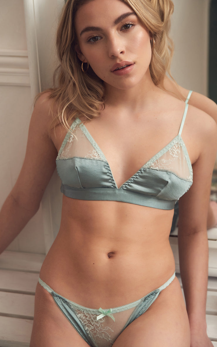 MINT KISS SATIN TRIANGLE | LINGERIE