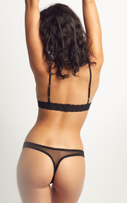 Faby Thong Black | Mesh & Lace
