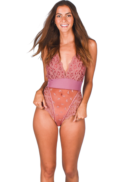 Olivia Bodysuit Raspberry | Made in Montreal Lingerie