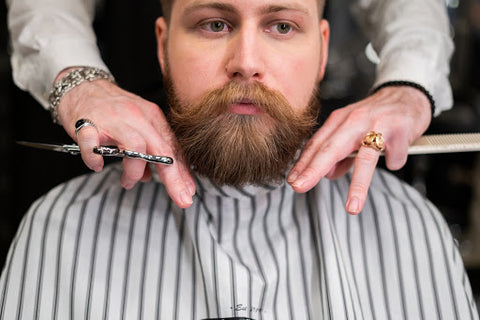 Bearded man sitting at the barbershop