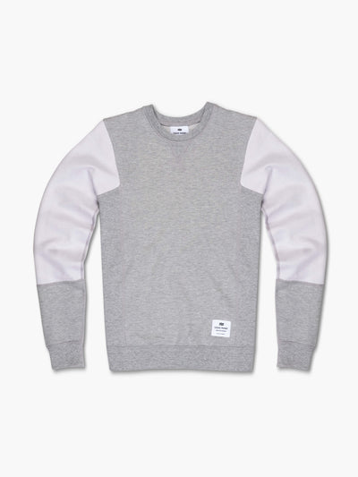 STRIKE MVMNT Two tone colorblocked women's crewneck sweatshirt in Lunar Grey and Chalk White