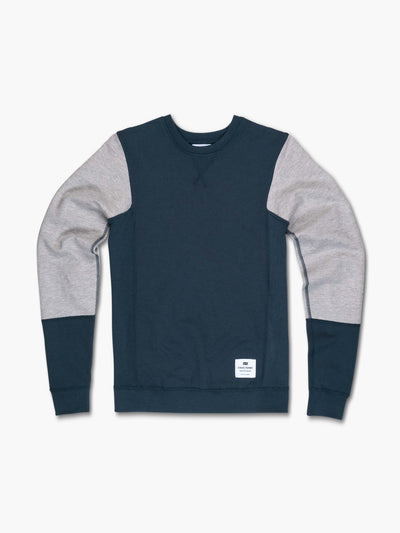 STRIKE MVMNT Two tone colorblocked women's crewneck sweatshirt in Darkest Spruce and Lunar Grey