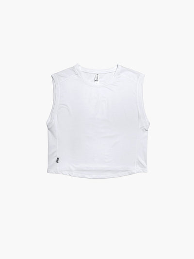 Strike Movement women's Training Session Sleeveless Tee for running and training workouts in Classic White Chill Mesh