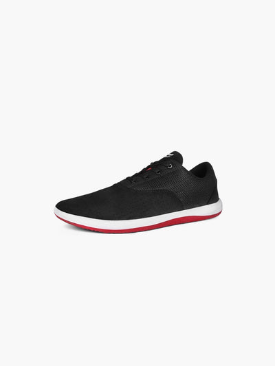 Strike Movement Chill Pill Transit versatile cross-training shoes for broad-spectrum performance in black Ultrasuede, white and red