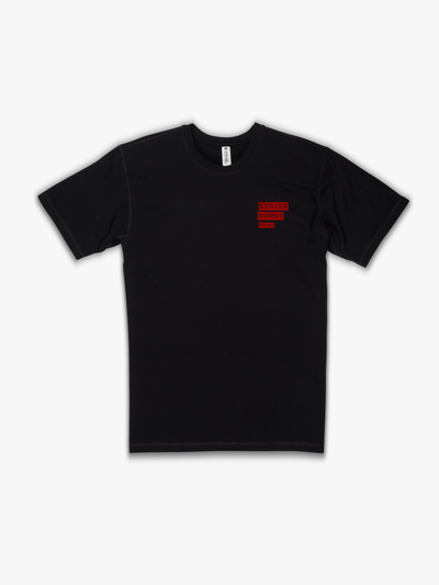 Strike Movement Timeless Vented T-Shirt with 20/20 Vision print in Phantom Black and Red front view