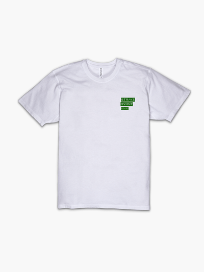 Strike Movement Timeless Vented T-Shirt with 20/20 Vision print in Classic White and Green front view