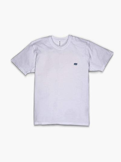 Strike Movement Men's Timeless Vented T-Shirt with Pattern print in Classic White and Navy Blue shown back view