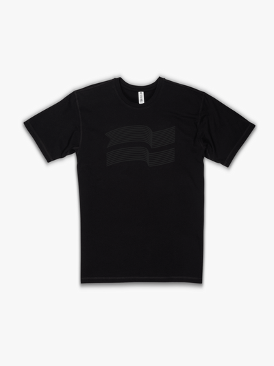 Strike Movement Timeless Vented T-Shirt with Variable Flag print in Phantom Black front view
