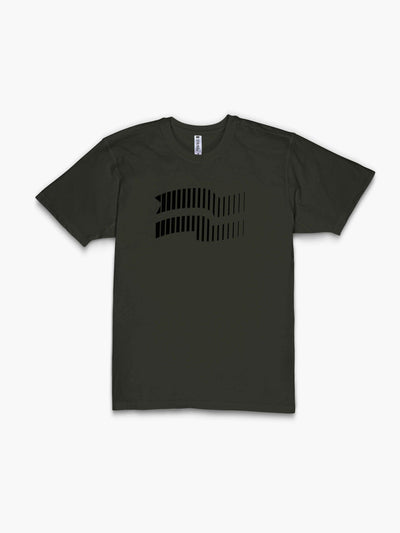 Strike Movement Timeless Vented T-Shirt with Velocity flag print in Burnt Olive Green and Phantom Black front view
