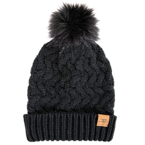 Simply Southern Beanie Dark Grey Wave Knit