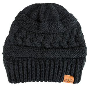 Simply Southern Cable Knit Beanie Dark Grey