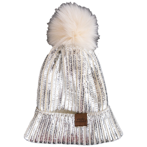 Simply Southern Sequin Beanie White