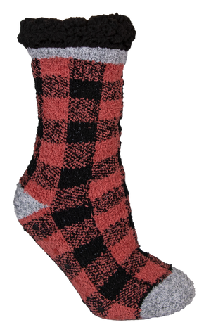 Simply Southern Red Buffalo Plaid Camper Socks