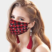 Christmas Mask-Plaid Snowflakes-Buffalo Plaid