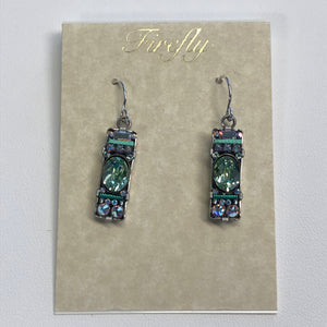 Firefly Blue Rectangle Earrings