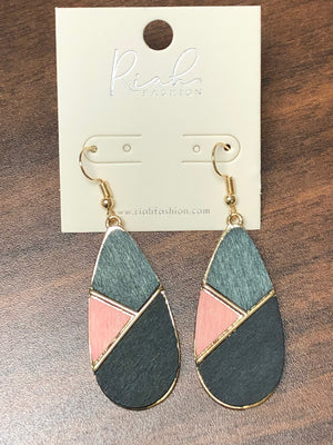 Riah Pink and Grey Color Block Earrings