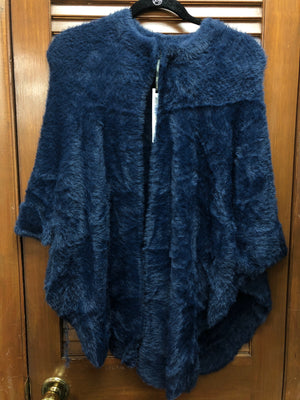 Coco and Carmen Faux Fur Wrap-Navy