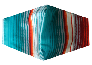 Men's Mask-Orange and Teal Stripes