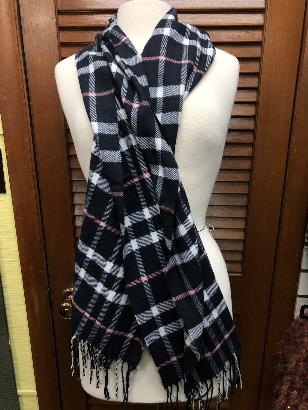 Black and Pink Plaid Scarf