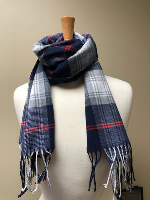 Navy Red & Grey Plaid Scarf