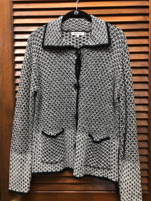 Violet Ruby Button Black and White Jacket
