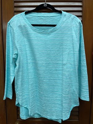 Escape Striped 3/4 Sleeve Top-Aqua