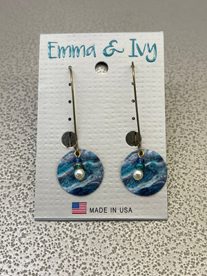 Emma and Ivy Blue Marble Earrings