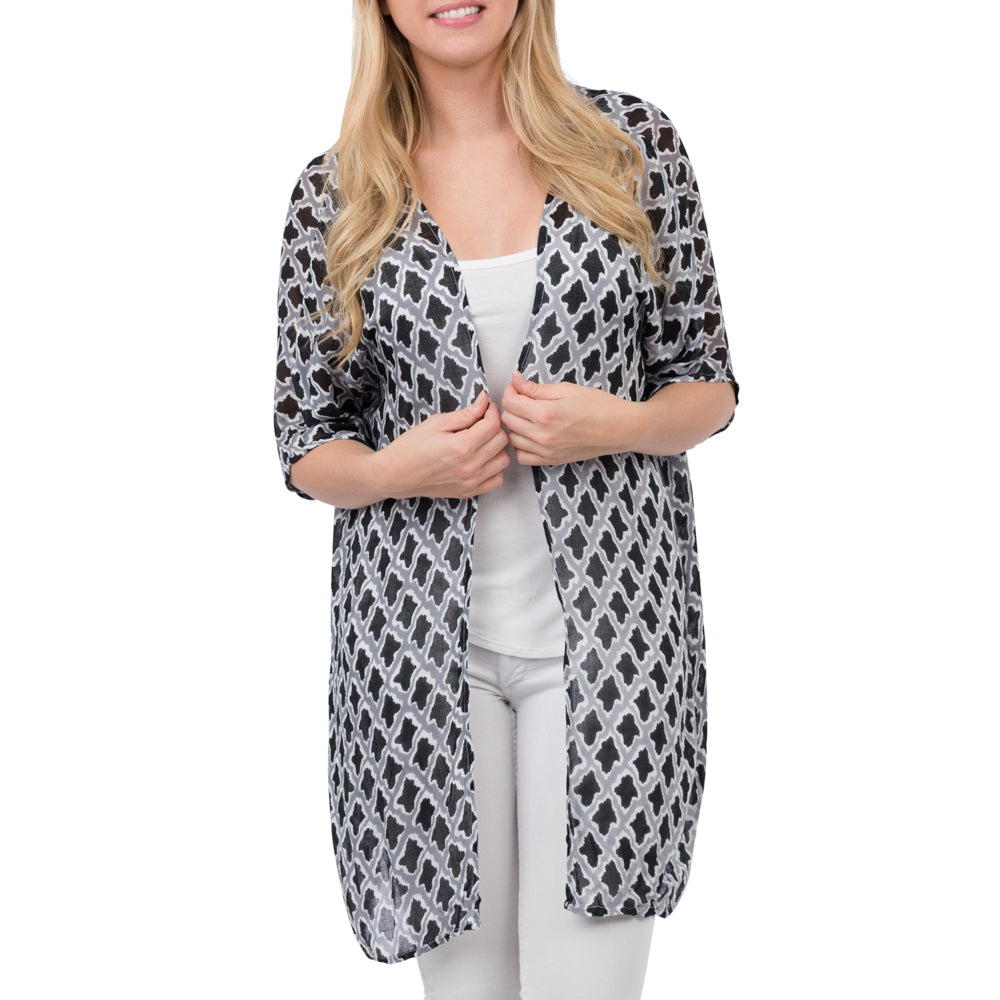 Viscose Kimono Navy and White