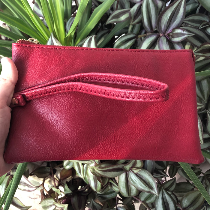 Leather Crossbody Wristlet-Red