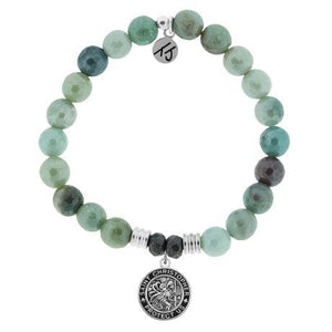 T. Jazelle Amazonite Saint Christopher Bracelet