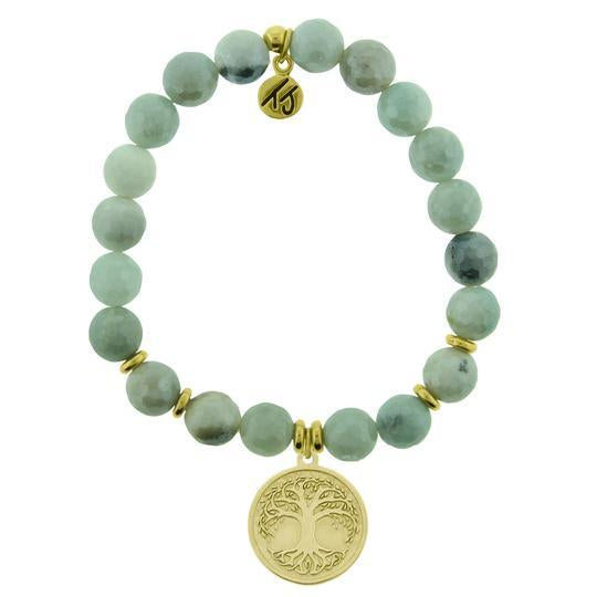 T. Jazelle Amazonite Gold Tree of Life Bracelet