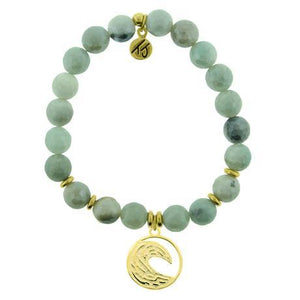 T. Jazelle Amazonite Gold Wave Bracelet
