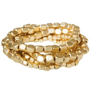 Gold Stack Square Bead Bracelet