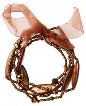 Beaded Ribbon Brown Bracelet