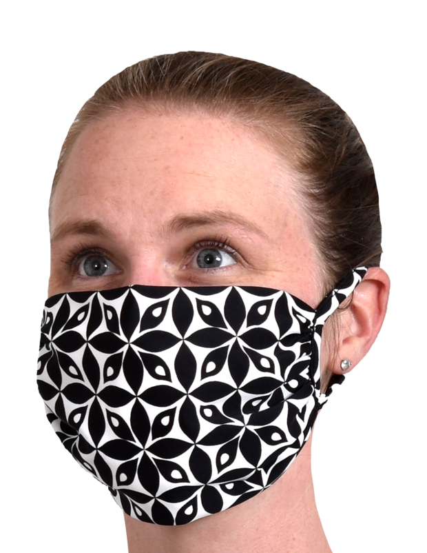 Black & White Petals Southwind UPF50 Face Mask