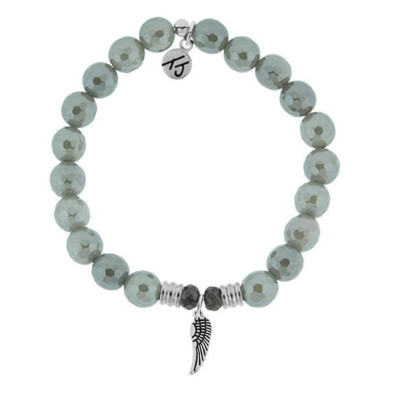 T. Jazelle Grey Agate Angel Wing Bracelet