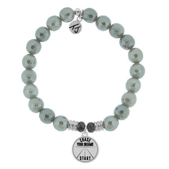 T. Jazelle Grey Agate Run Your Own Race Bracelet