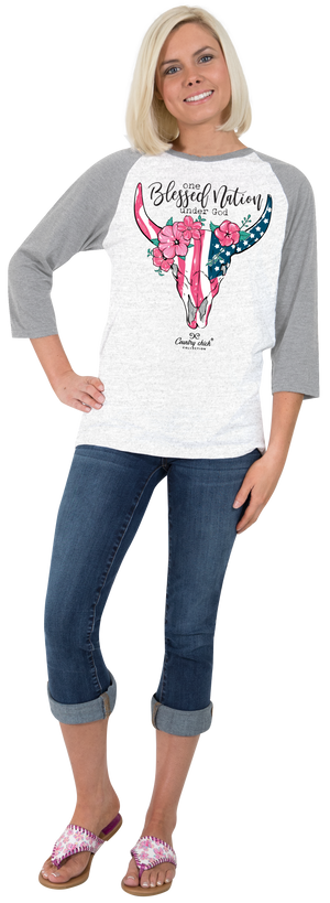 Simply Southern Country Chick One Blessed Nation T-shirt