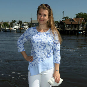 iCantoo 3/4 Sleeve Asymmetric Top:  Summer Daze, Shimmer