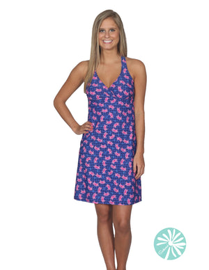 Southwind V-Neck Hot Pink Crab Dress