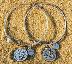 Dewey Beach Delaware Sandcastle Bangle, Silver, Chrysalis