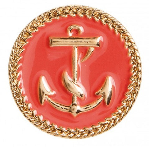 Coral and Gold Anchor Studs