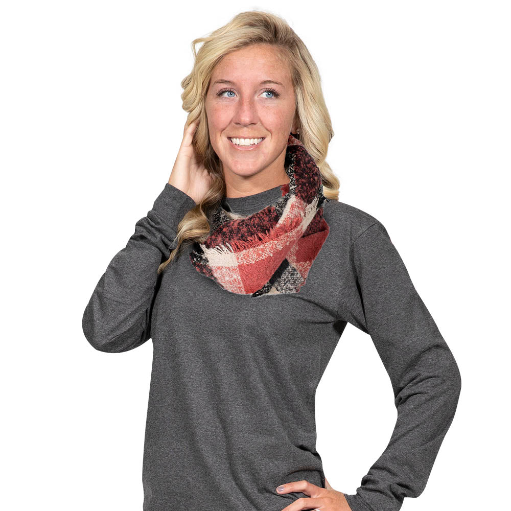 Simply Southern Brick and Black Infinity Scarf