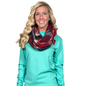Simply Southern Red and Navy Infinity Scarf