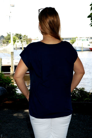 Sun Moda V-Neck Side Slit Top Navy Back, ICantoo