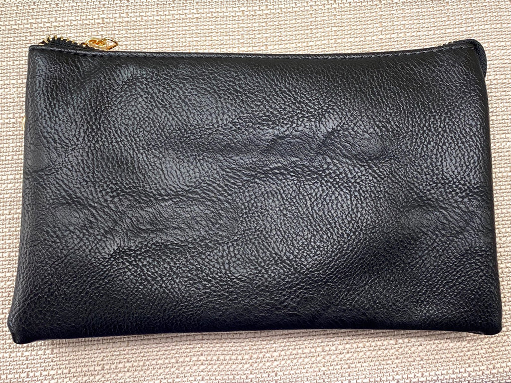 Black Medium Leather Wristlet